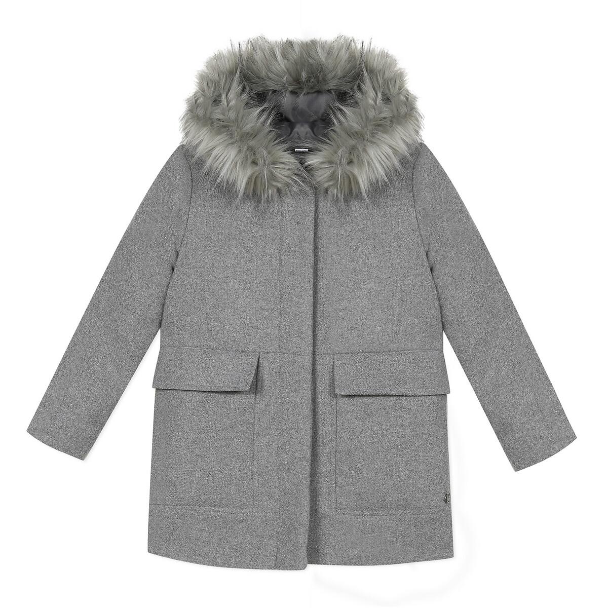 Пальто La Redoute С капюшоном 3-14 лет 9/10 лет - 132/138 см серый парка la redoute с капюшоном с искусственным мехом лет 10 лет 138 см черный