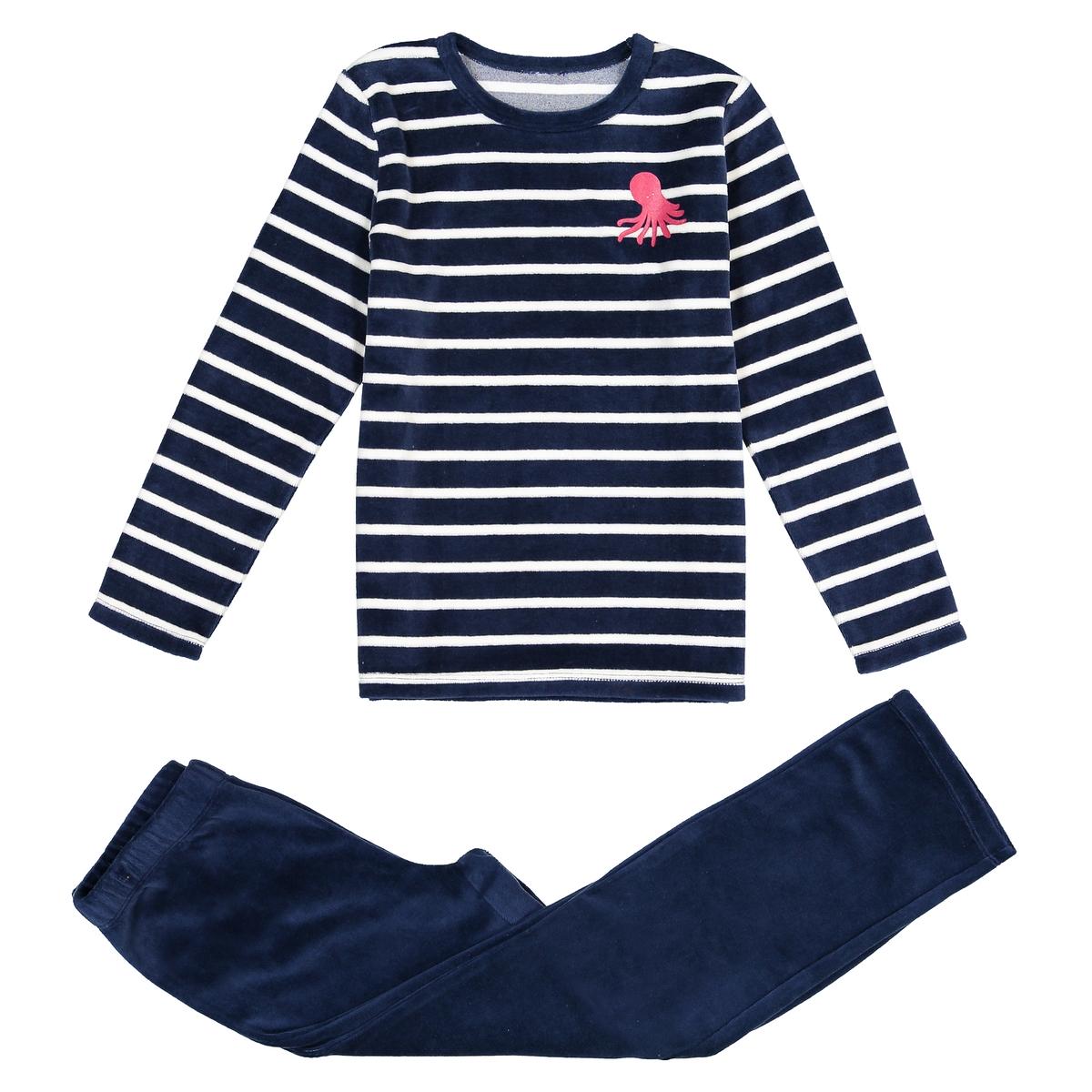 Пижама с длинными рукавами из велюра, 3-12 лет
