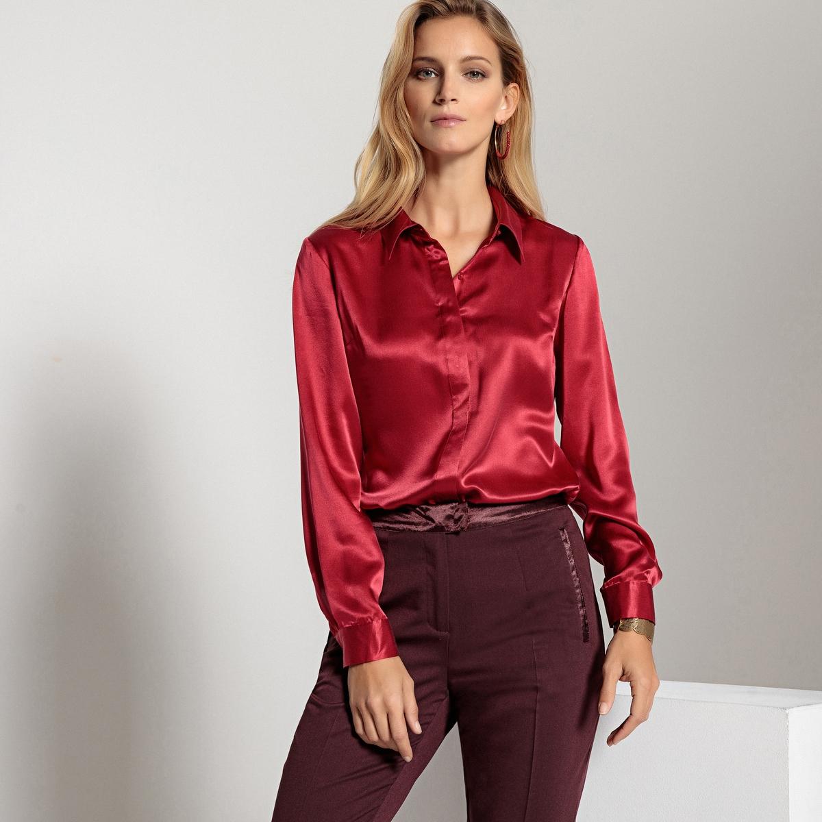 Блузка-рубашка с длинными рукавами, 100% шёлка