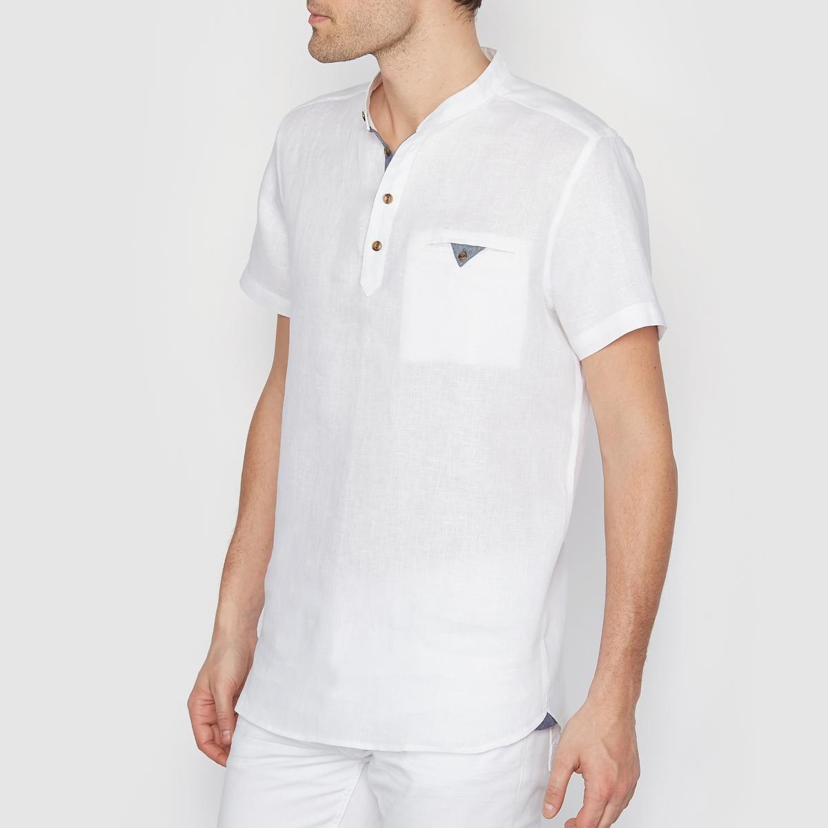 Рубашка из 100% льна, свободный покрой, короткие рукаваРубашка из 100% льна, SOFT GREY. Свободный покрой. Короткие рукава. Воротник-стойка (мао), тунисский вырез с застежкой на пуговицы. 1 нагрудный прорезной карман на пуговице. Манжеты застегиваются на пуговицы. Рубашечный низ. Детали из шамбре на планке-застежке и кармане.Состав и описаниеМарка: SOFT GREY.Материал: 100% льна. УходМашинная стирка при 30°C.<br><br>Цвет: белый<br>Размер: 35/36