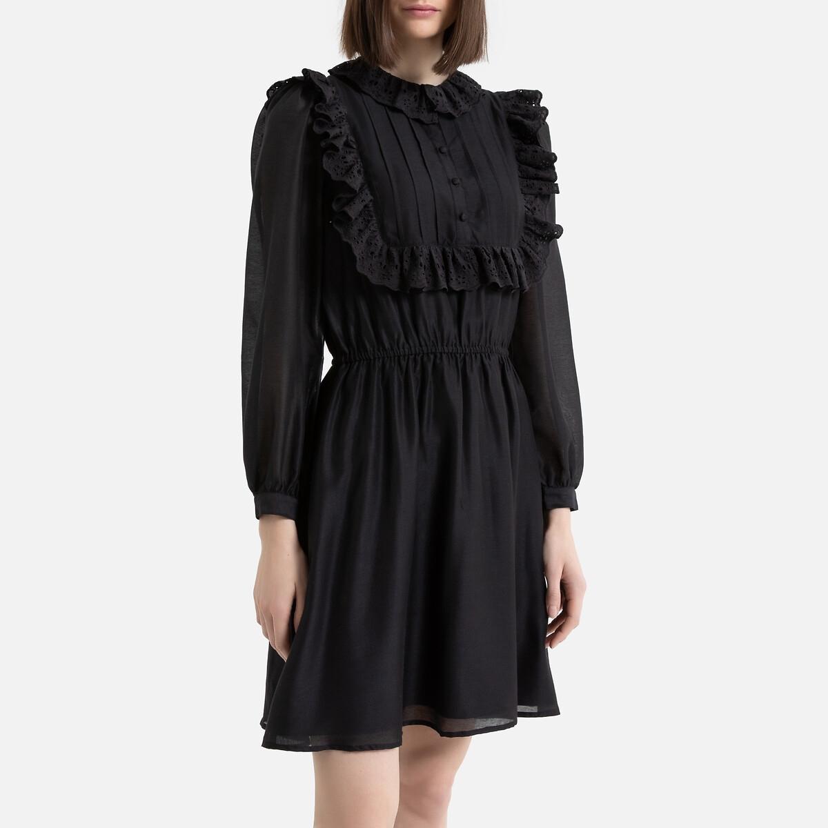 Платье La Redoute Короткое с воланами с длинными рукавами 36 (FR) - 42 (RUS) черный