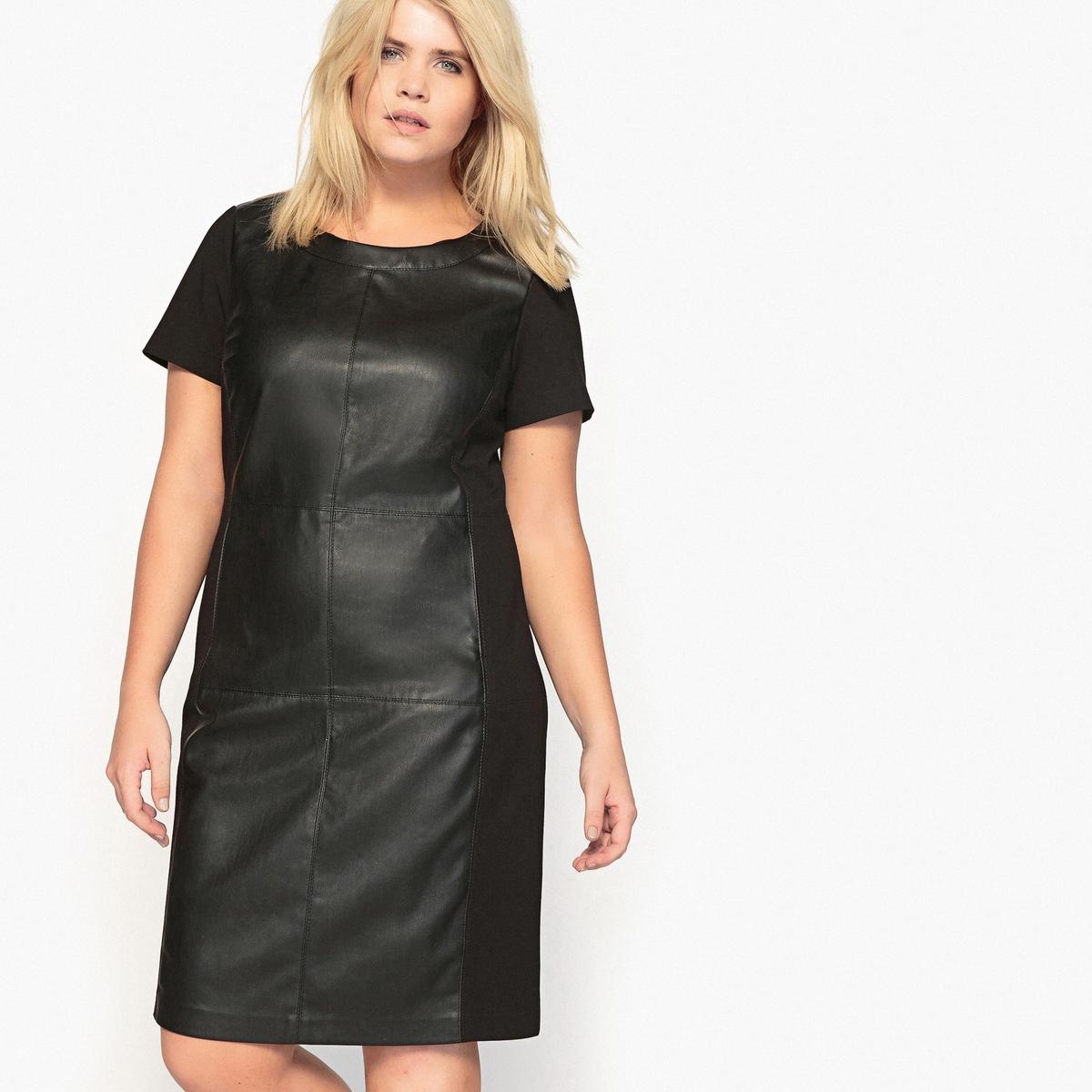 Платье прямое средней длиныОписание:Маленькое черное платье, о котором все мы так мечтаем. С современными вставками из искусственной кожи. Это черное платье незаменимо в гардеробе.Детали •  Форма : прямая •  Длина до колен •  Короткие рукава    •  Круглый вырезСостав и уход •  66% вискозы, 3% эластана, 31% полиамида •  Температура стирки при 30° на деликатном режиме   •  Сухая чистка и отбеливание запрещены •  Не использовать барабанную сушку   •  Низкая температура глажки   ВАЖНО: Товар без манжетТовар из коллекции больших размеров •  Из двух материалов. •  Вставки из искусственной кожи спереди. •  Длина : 103,8 см<br><br>Цвет: черный<br>Размер: 44 (FR) - 50 (RUS)