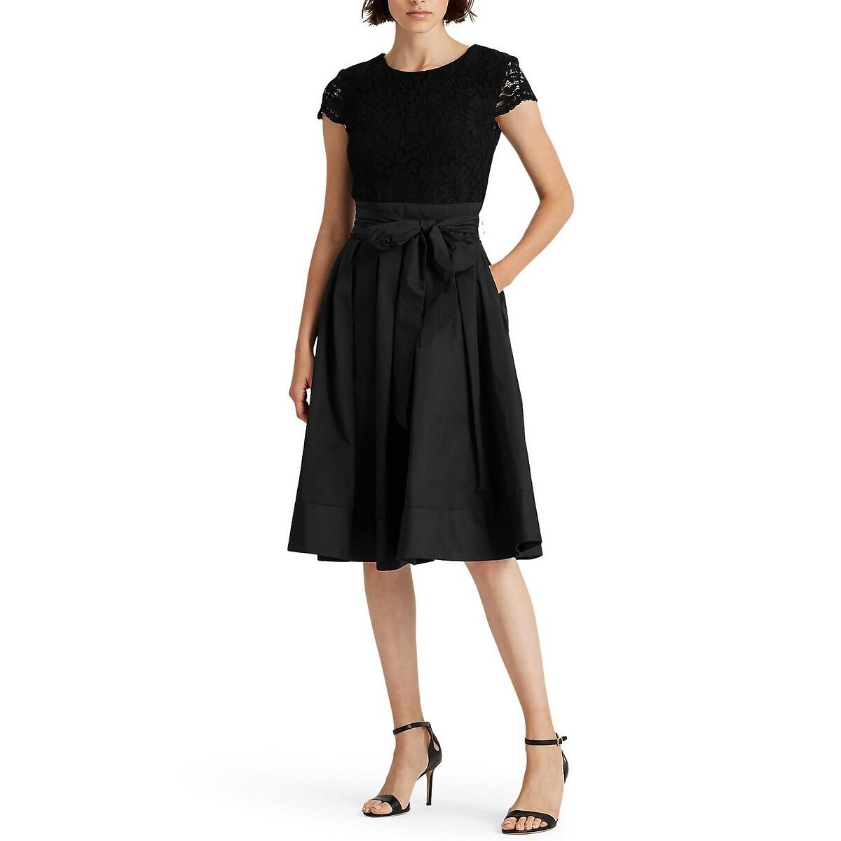 Платье La Redoute Из двух материалов расклешенное с короткими рукавами L черный