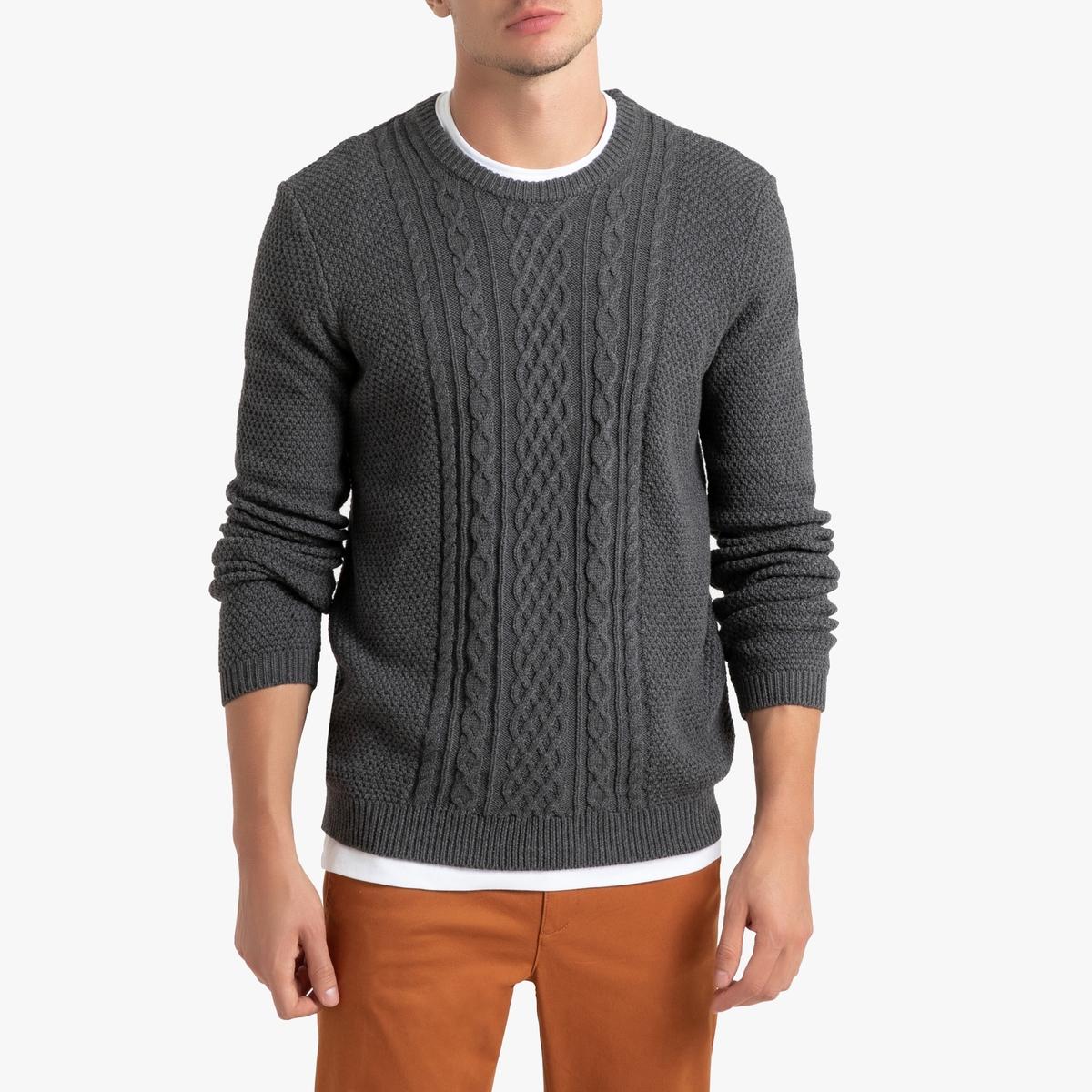 Пуловер La Redoute С круглым вырезом с плетением из плотного трикотажа 3XL серый пуловер la redoute с круглым вырезом из плотного трикотажа 3xl бежевый