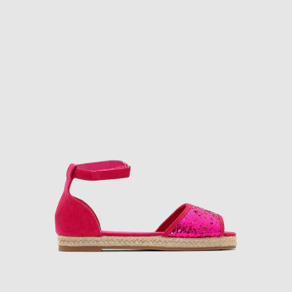 Sandales, dessus brillant, semelle corde