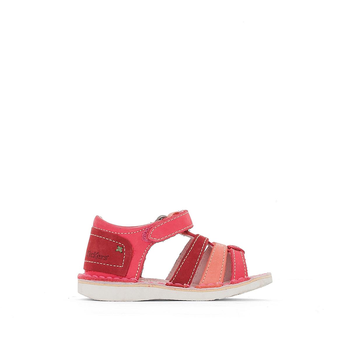 Босоножки кожаные WoopyВерх : кожа   Подкладка : кожа   Стелька : кожа   Подошва : каучук    Застежка : планка-велкро<br><br>Цвет: розовый