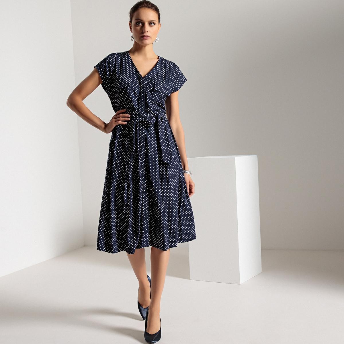 Платье с короткими рукавами из струящейся ткани с принтом платье из струящейся ткани 100% вискозы
