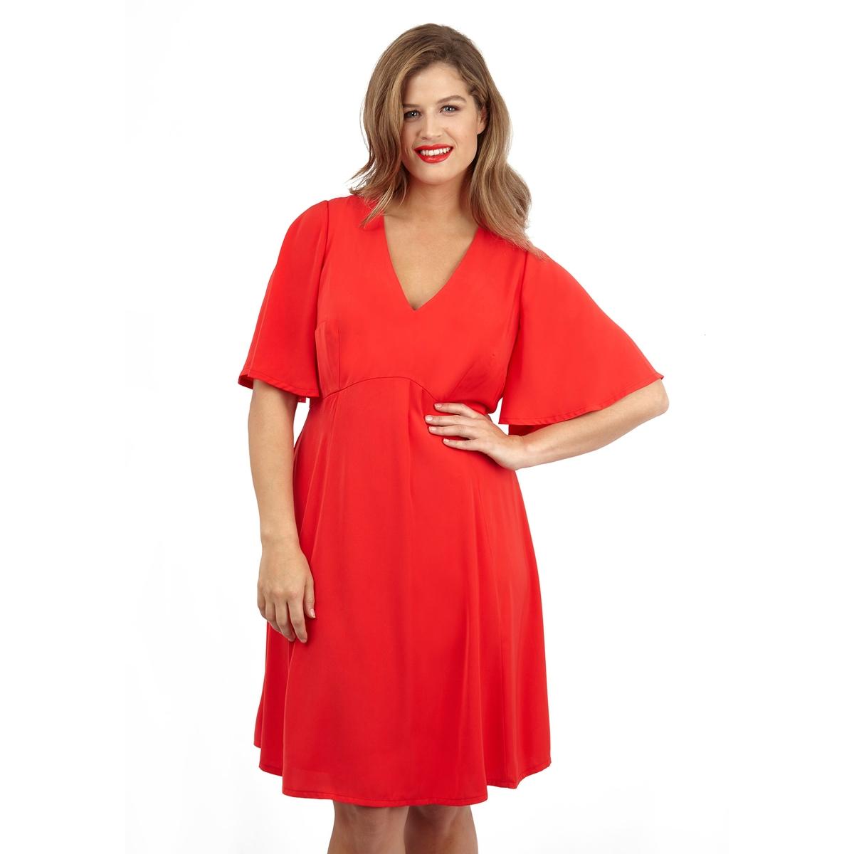 ПлатьеПлатье с короткими рукавами LOVEDROBE. Красивый глубокий V-образный вырез. 100% полиэстер.<br><br>Цвет: красный<br>Размер: 44 (FR) - 50 (RUS)