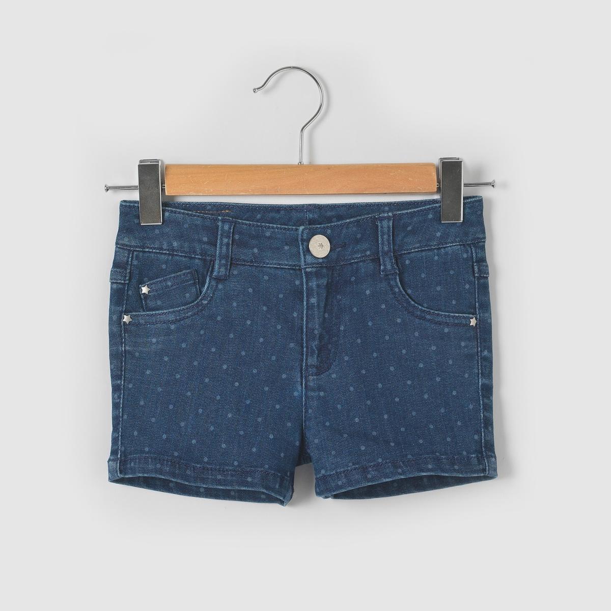 Шорты джинсовые с рисунком в горошек  3-12 лет
