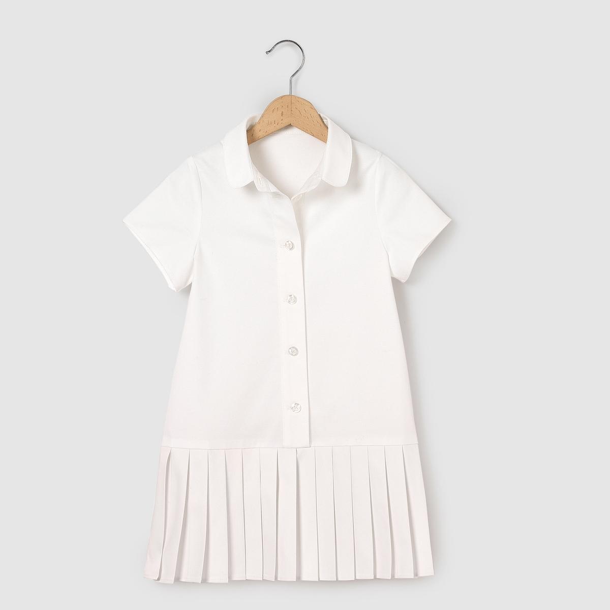 Платье из двух материаловПлатье из двух материалов. Верх, 98% хлопка, 2% эластана. Плиссированный низ, 62% вискозы, 36% полиэстера, 2% эластана.<br><br>Цвет: белый<br>Размер: 6 лет - 114 см