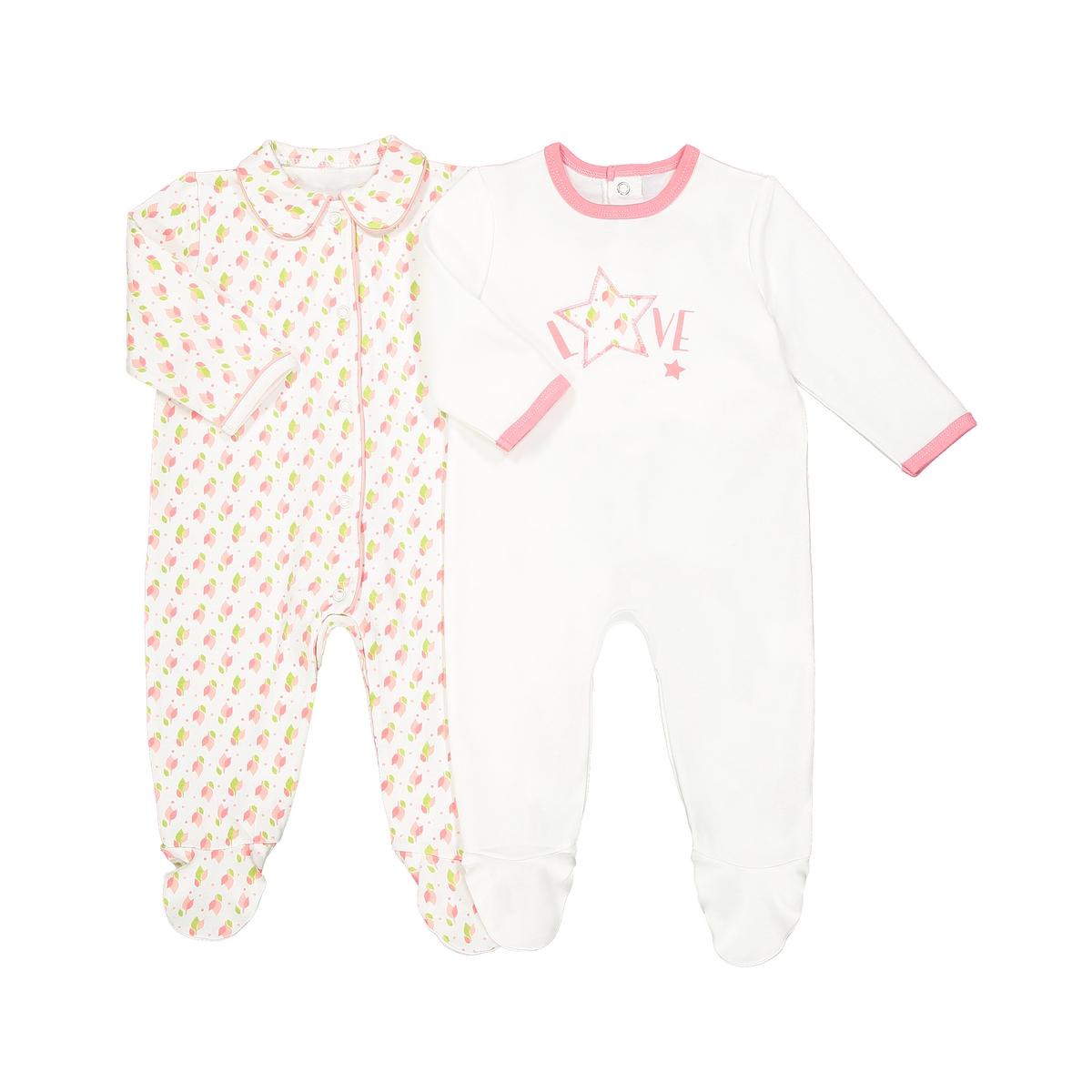Пижама для новорожденного 0 мес.-3 года (комплект из 2 изделий)Описание:2 пижамы с длинными рукавами. 2 пижамы из хлопка обеспечат комфорт и мягкость.Детали •  В комплекте 2 пижамы с длинными рукавами и штанинами. •  1 пижама однотонная с рисунком и застёжкой на кнопки сзади. •  1 пижама с цветочным рисунком и застёжкой на кнопки спереди.  •  Носки с противоскользящими элементами для размеров от 12 месяцев  (74 см).Состав и уход •  Материал : 100% хлопок. •  Стирать с вещами схожих цветов при 40°. •  Стирать и гладить с изнанки при низкой температуре. •  Машинная сушка на средней температуре .Эластичная вставка сзади для лцчшей поддержки.<br><br>Цвет: экрю/ розовый<br>Размер: 2 года - 86 см.18 мес. - 81 см.1 год - 74 см.0 мес. - 50 см.3 года - 94 см.3 мес. - 60 см.1 мес. - 54 см.9 мес. - 71 см.6 мес. - 67 см
