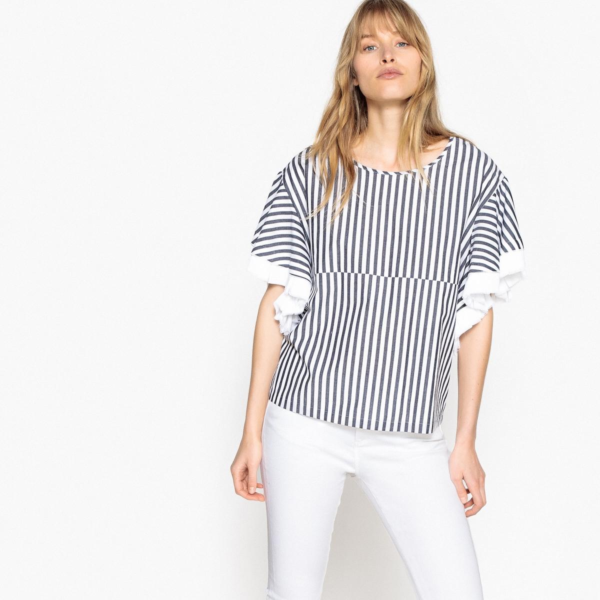 Блузка в полоску с корокими рукавами и завязками на талии