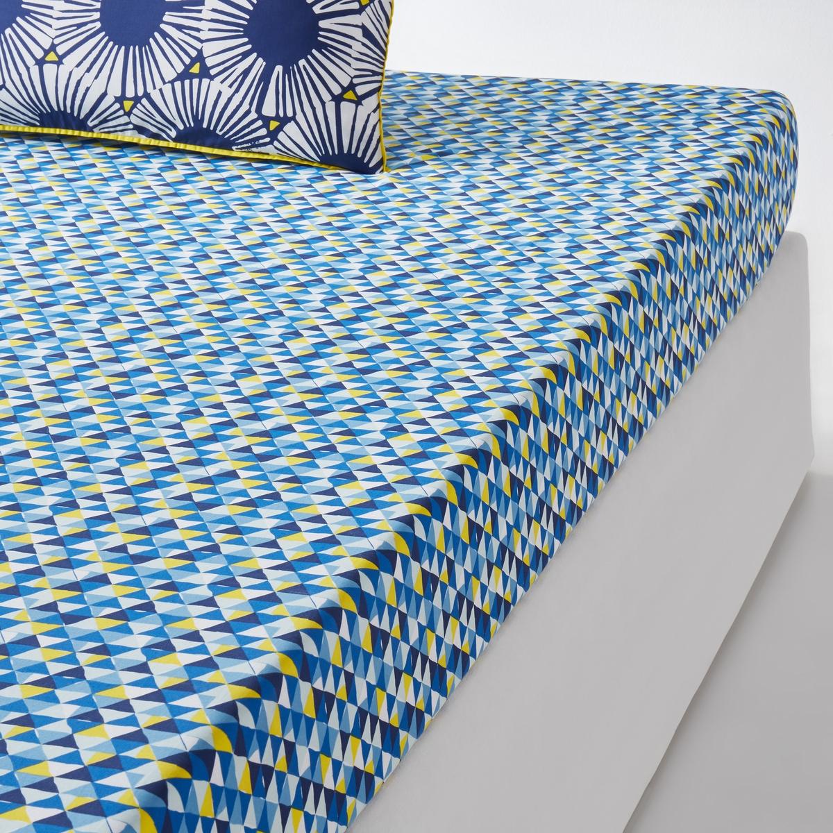 Простыня натяжная с рисунком, Blue RivieraНатяжная простыня с рисунком Blue Riviera. Натяжная простыня Blue Riviera с рисунком в виде стилизованных мотивов, сочетающихся с постельным бельем того же комплекта.Характеристики натяжной простыни Blue Riviera : Натяжная простыня с микрорисунком.100% хлопок, 57 нитей/см? : чем больше нитей/см?, тем выше качество ткани.Клапан 25 см.Легкость ухода.Машинная стирка при 60 °С.Всю коллекцию постельного белья Blue Riviera вы можете найти на сайте laredoute.ru Знак Oeko-Tex® гарантирует, что товары прошли проверку и были изготовлены без применения вредных для здоровья человека веществ.Размеры :90 x 190 см : 1-сп.140 x 190 см : 2-сп.160 x 200 см : 2-сп.180 x 200 см : 2-сп.<br><br>Цвет: белый/синий/желтый<br>Размер: 90 x 190  см