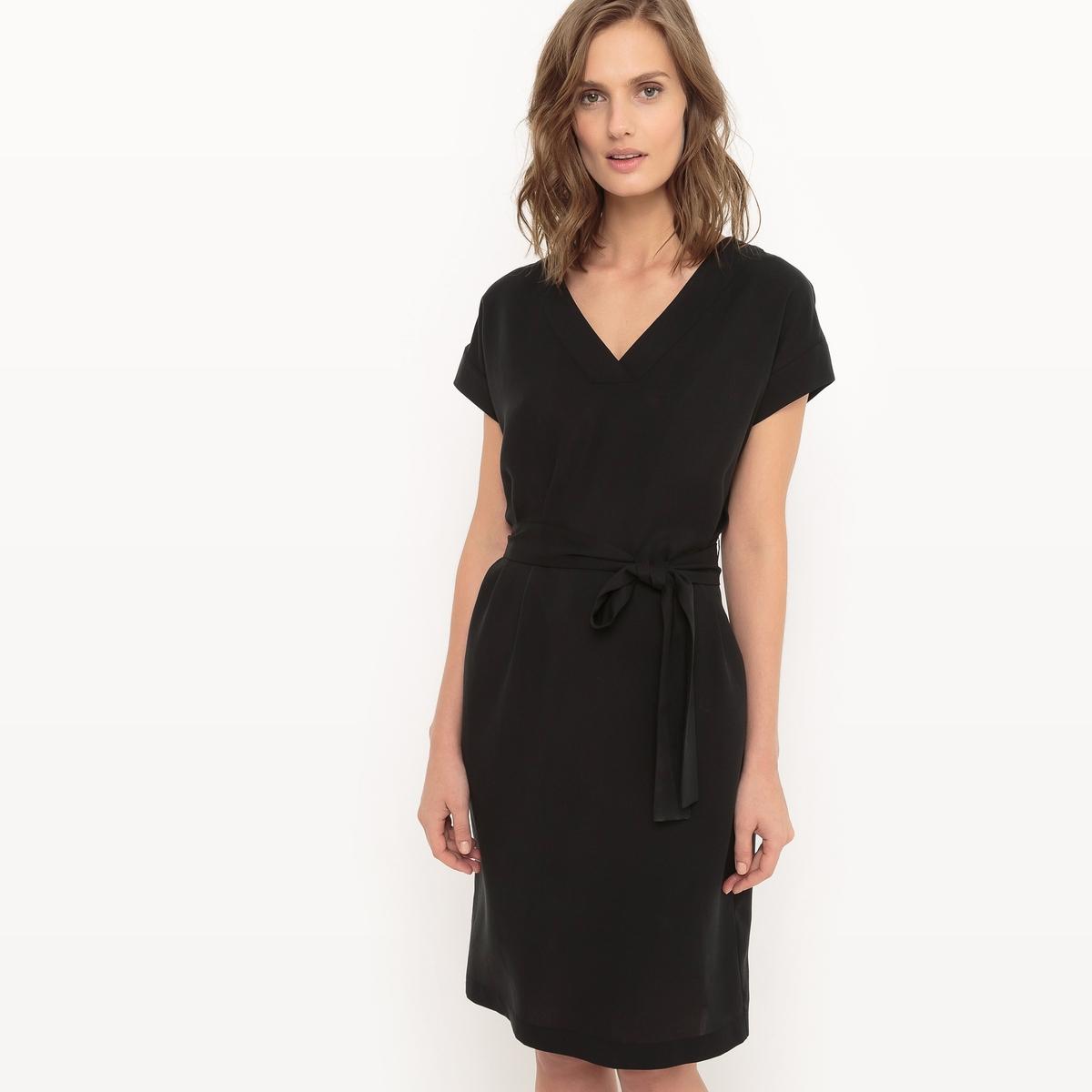 Фото Платье с поясом, V-образный вырез, из тенсела. Купить с доставкой