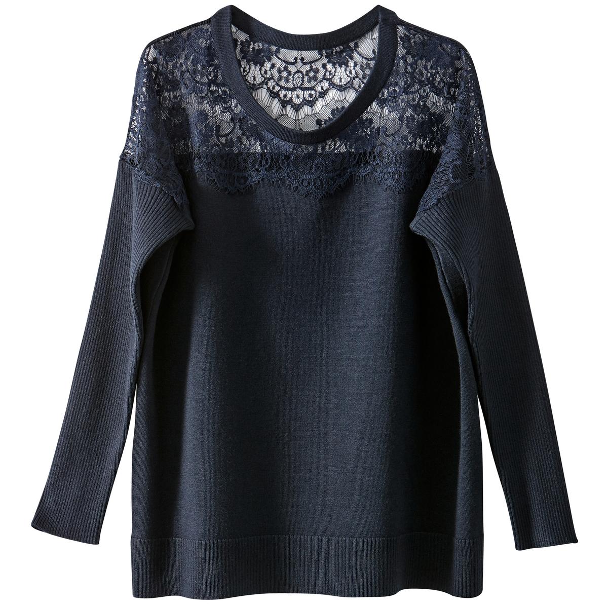 Пуловер с кружевным верхом