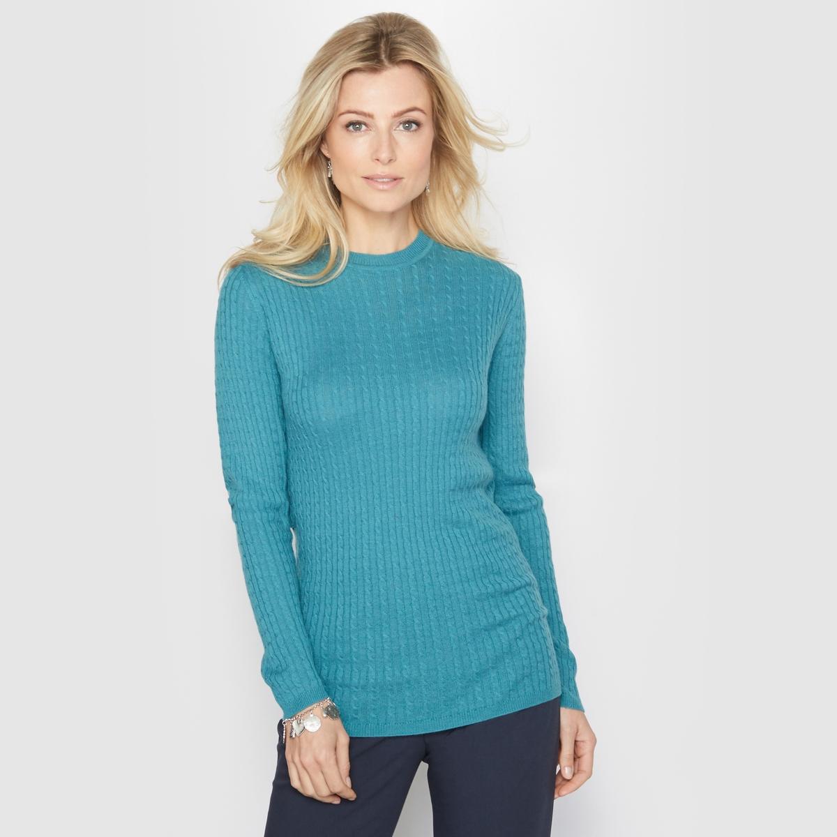 Пуловер с круглым вырезом, 10% шерсти