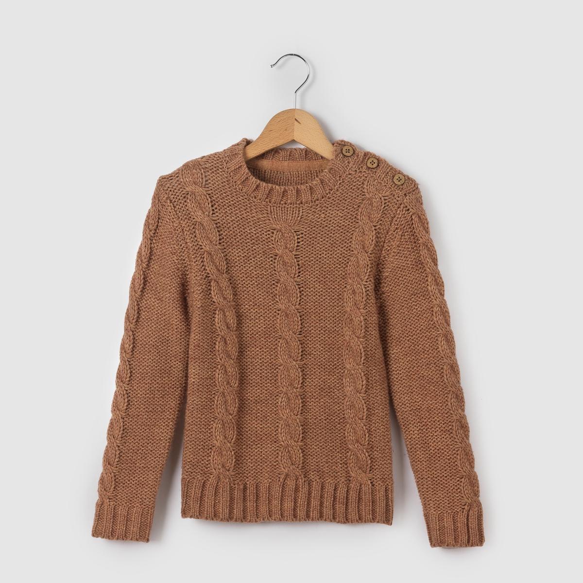 Пуловер с узором косы и круглым вырезом 3-12 лет