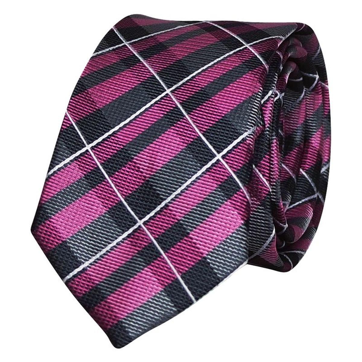 Cravate soie rose écossaise