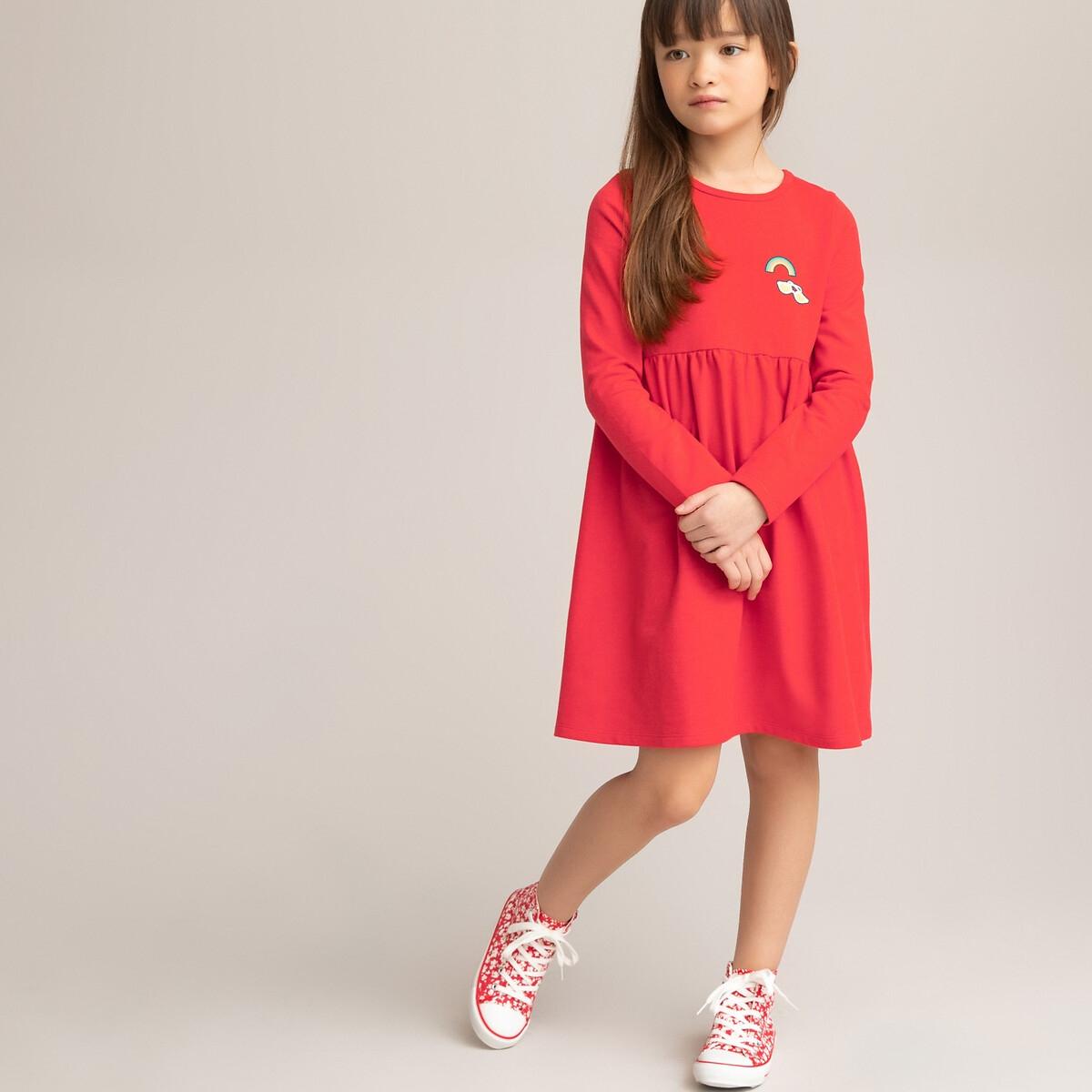 Платье LaRedoute С длинными рукавами 3-12 лет 4 года - 102 см красный блузка laredoute с длинными рукавами и отделкой макраме 3 12 лет 4 года 102 см бежевый