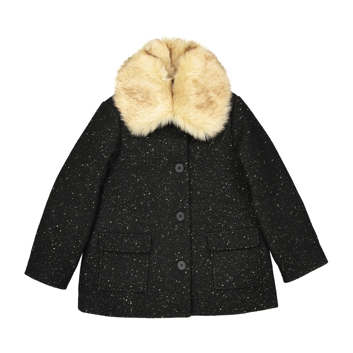 Пальто средней длины со съемным воротником, 3-12 лет