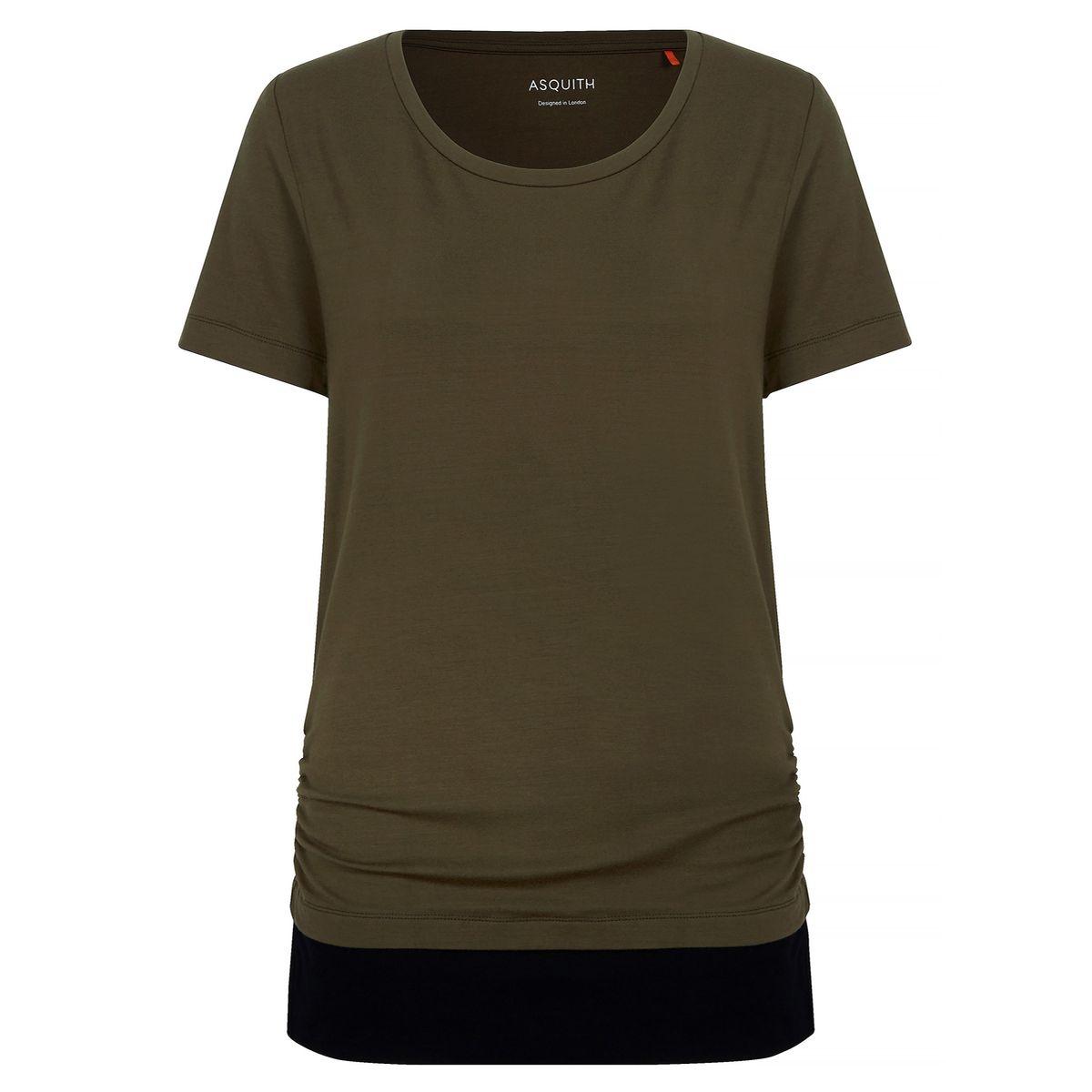 """Yoga-T-Shirt """"bend it"""" - khaki / jet black olive"""