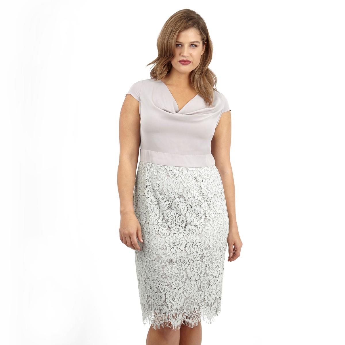 ПлатьеПлатье без рукавов LOVEDROBE. Красивый V-образный вырез. Отделка низа кружевом. 100% полиэстер.<br><br>Цвет: серый<br>Размер: 44 (FR) - 50 (RUS)