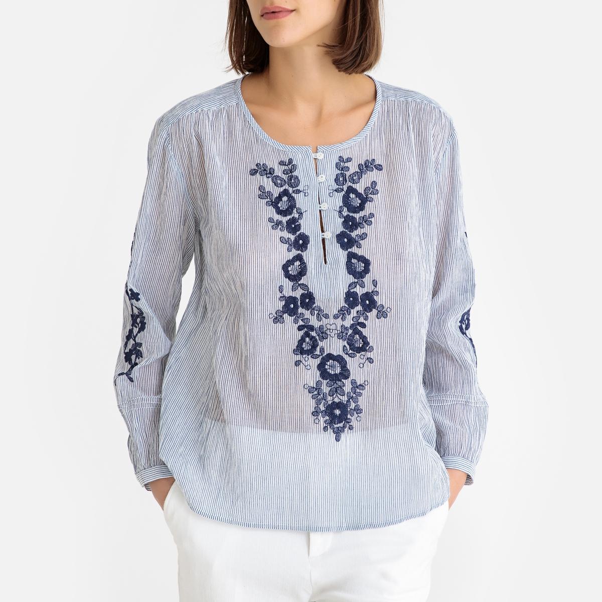 цена Блузка La Redoute С вышивкой CECILIA S синий онлайн в 2017 году