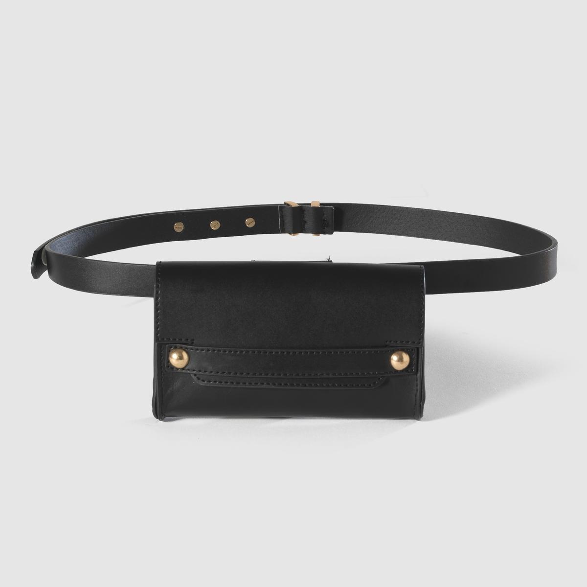 Пояс с сумкойМатериал: кожа.Застежка: металлическая пряжкаШирина: 2 смОбхват талии в см : 80-90-100<br><br>Цвет: черный<br>Размер: 90 см.80 см.100 см
