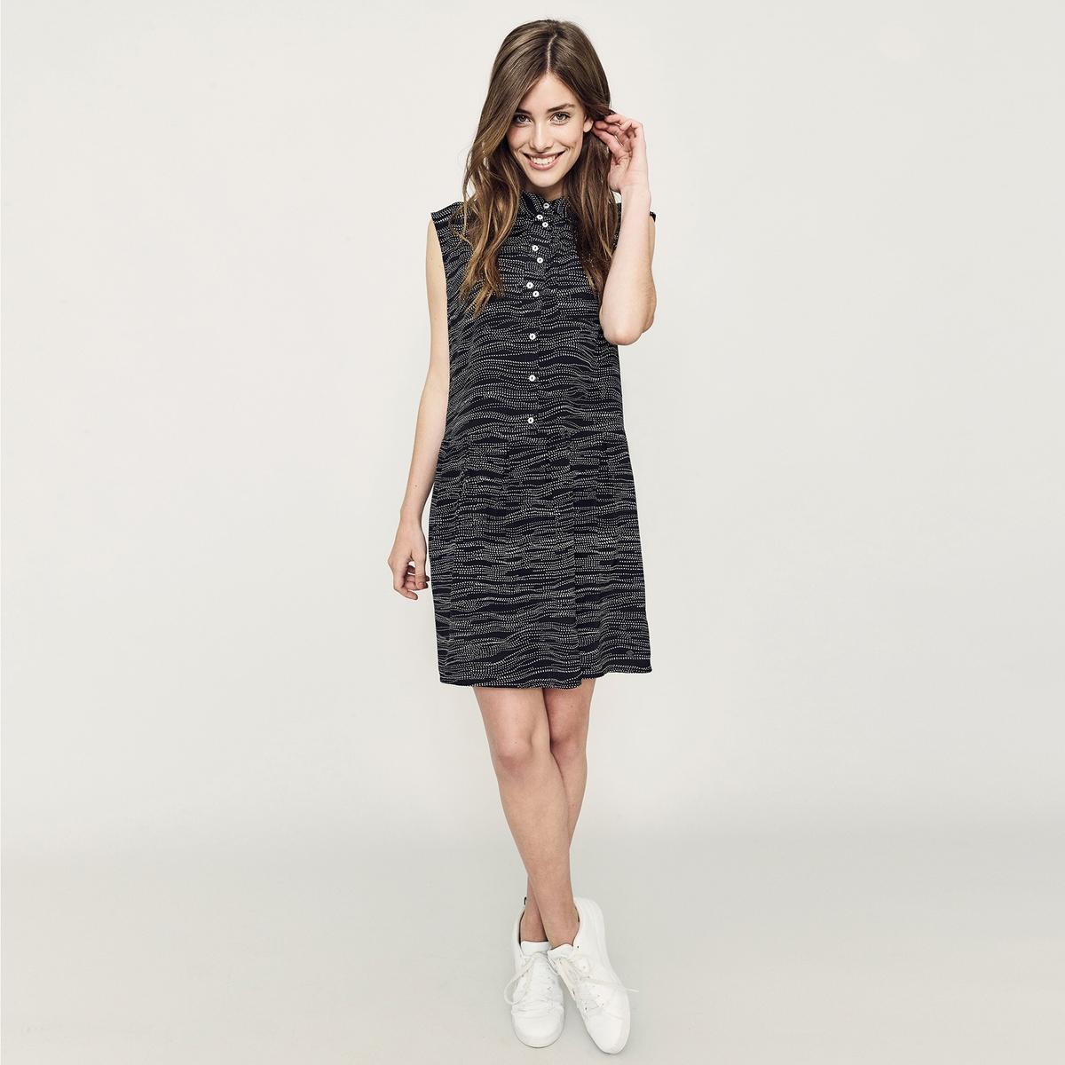 Платье-рубашка с рисунком, без рукавовМатериал : 100% вискоза  Длина рукава : без рукавов  Форма воротника : Круглый вырез Покрой платья : платье прямого покроя  Рисунок : принт.   Длина платья : короткое.<br><br>Цвет: черный/ белый