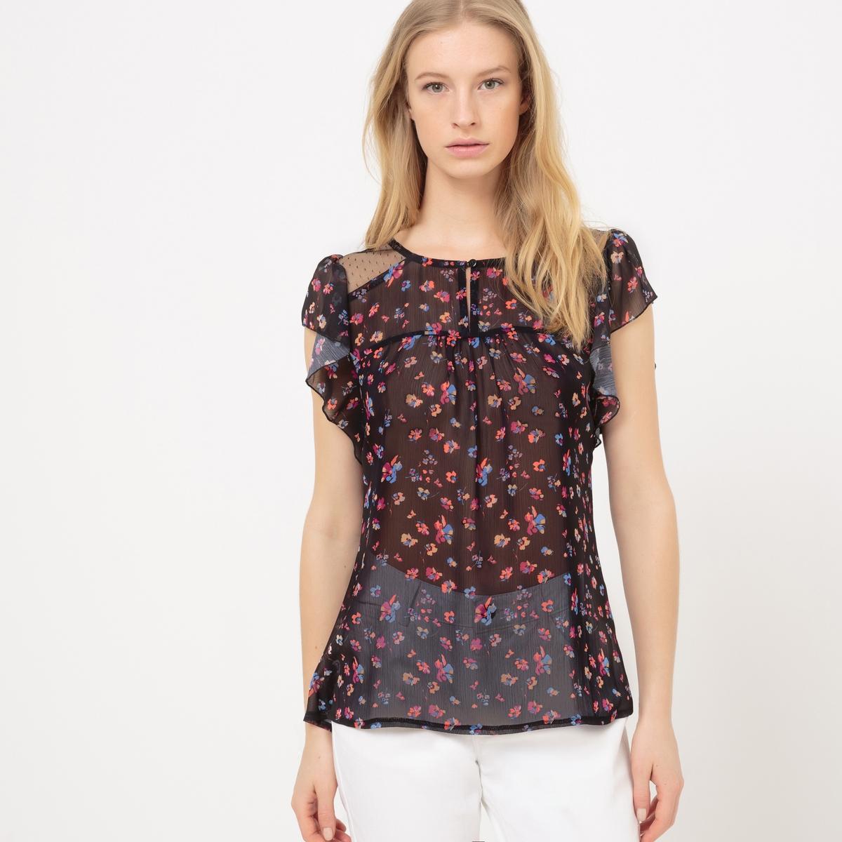 Блузка с тунисским вырезом, цветочным рисунком, без рукавов