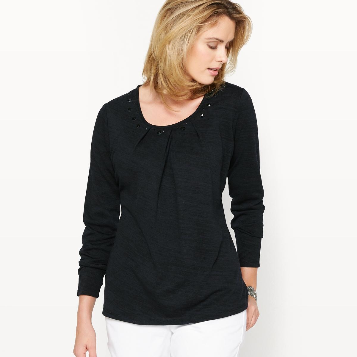 Пуловер с отделкой стразами