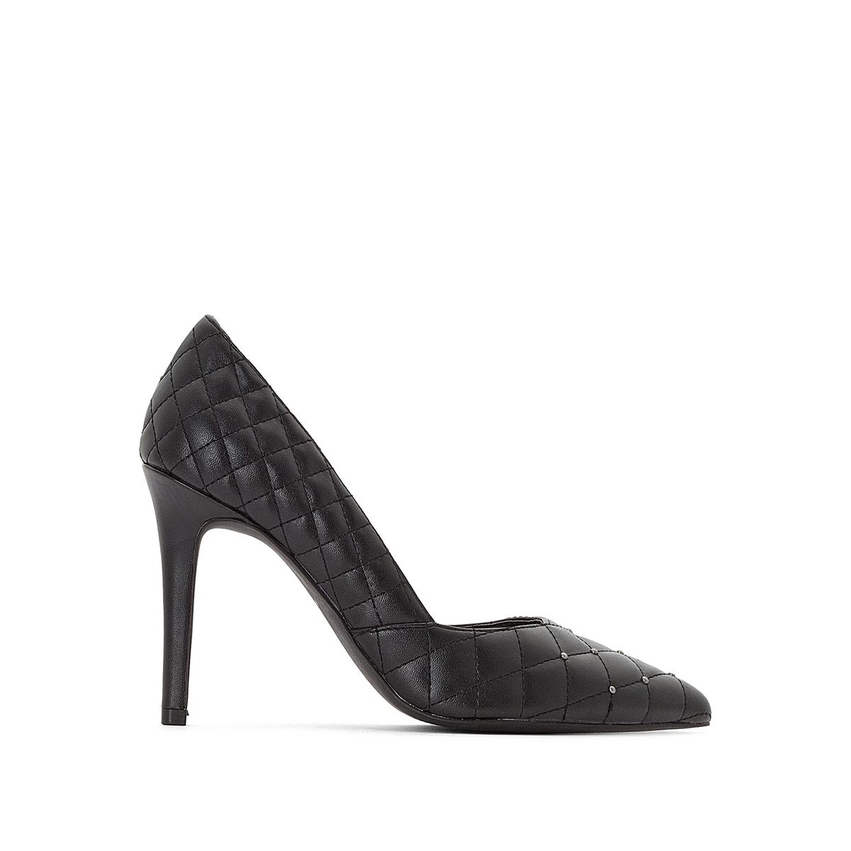 Туфли La Redoute Со стеганым эффектом с заклепками 37 черный ремень с эффектом ткани с заклепками