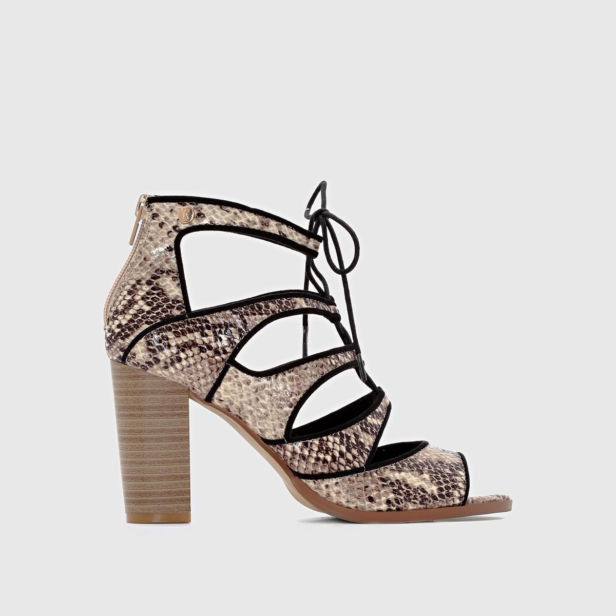 Босоножки на высоком каблуке ELLEЗастежка: молния сзади.<br><br>Цвет: черный/змеиный рисунок<br>Размер: 37