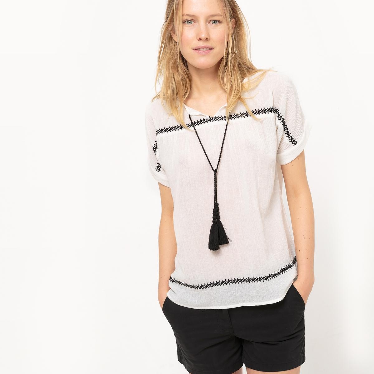 Блузка из жатого хлопка, короткие рукава