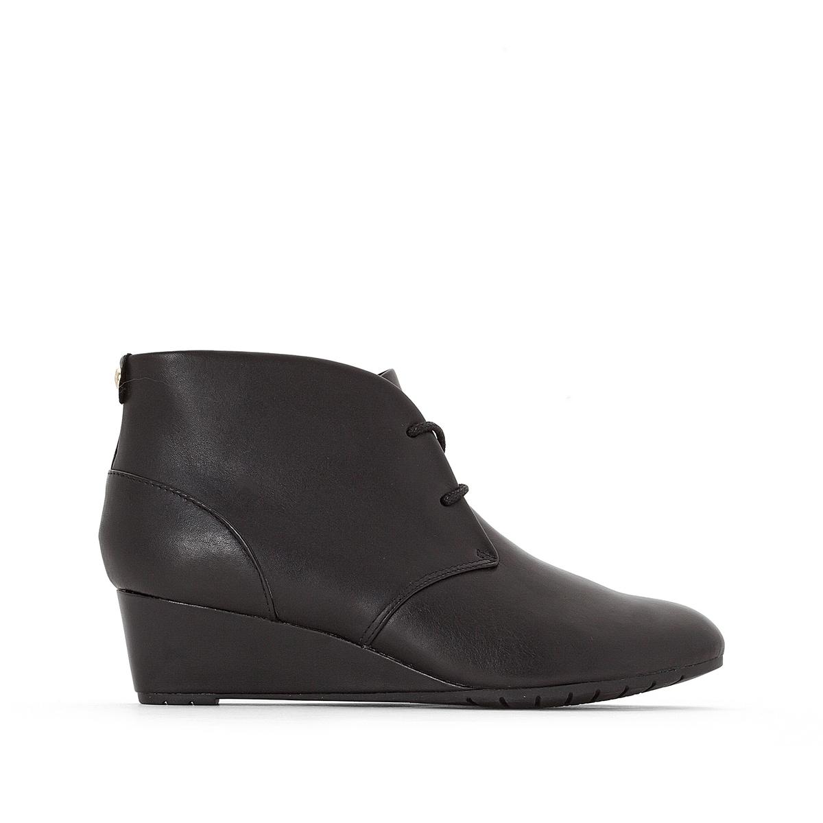 Ботинки кожаные  Vendra PeakВерх : Кожа.   Подкладка : синтетика   Стелька : Кожа.   Подошва : Каучук   Высота каблука : 4 см   Форма каблука : танкетка   Мысок : закругленный   Застежка : Шнуровка<br><br>Цвет: серо-коричневый,черный