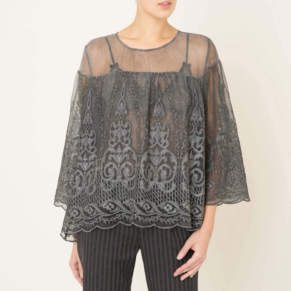 Блузка ORINDAБлузка VALERIE KHALFON, модель ORINDA. Круглый вырез. Длинные рукава. Вышивка и прозрачный эффект. Вырез-капля сзади. Объемный покрой.Состав &amp; Детали Материал : 100% шелкМарка : VALERIE KHALFON<br><br>Цвет: серый