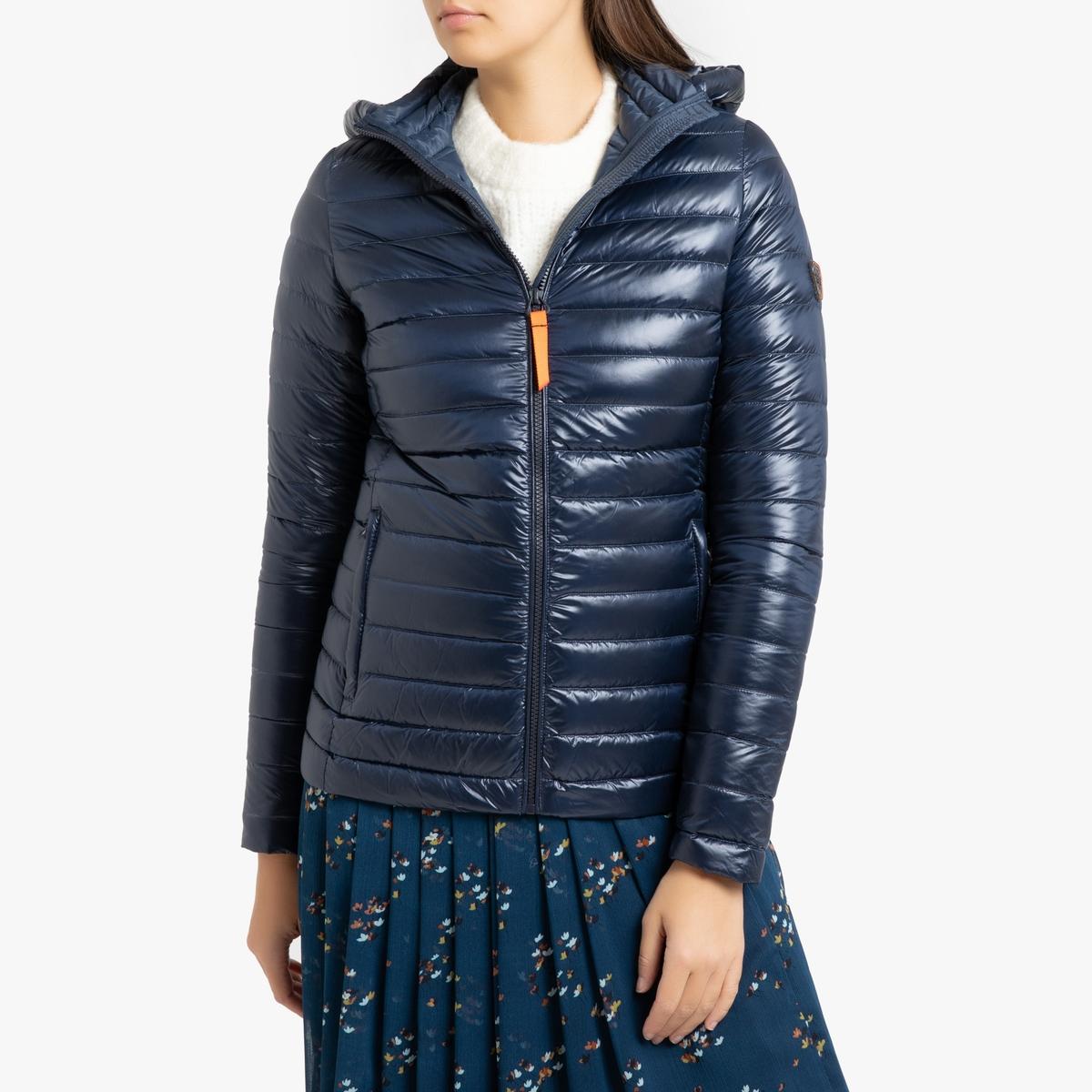 где купить Куртка La Redoute Стеганая короткая с капюшоном FRANCINE SHINY 3(L) синий дешево