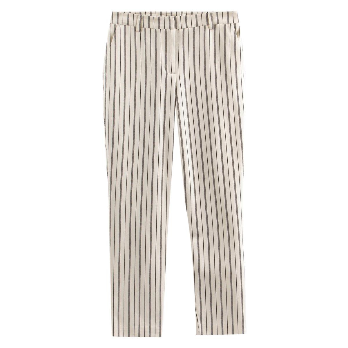 Pantalón recto a rayas de algodón y lino