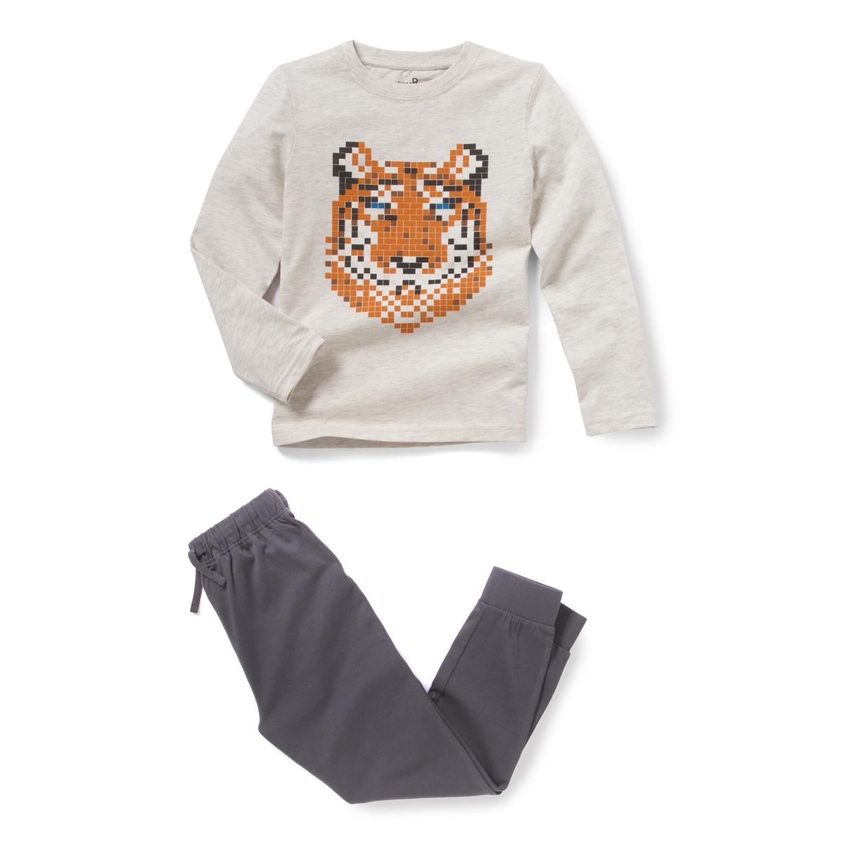Пижама с рисунком тигр 2-12 лет