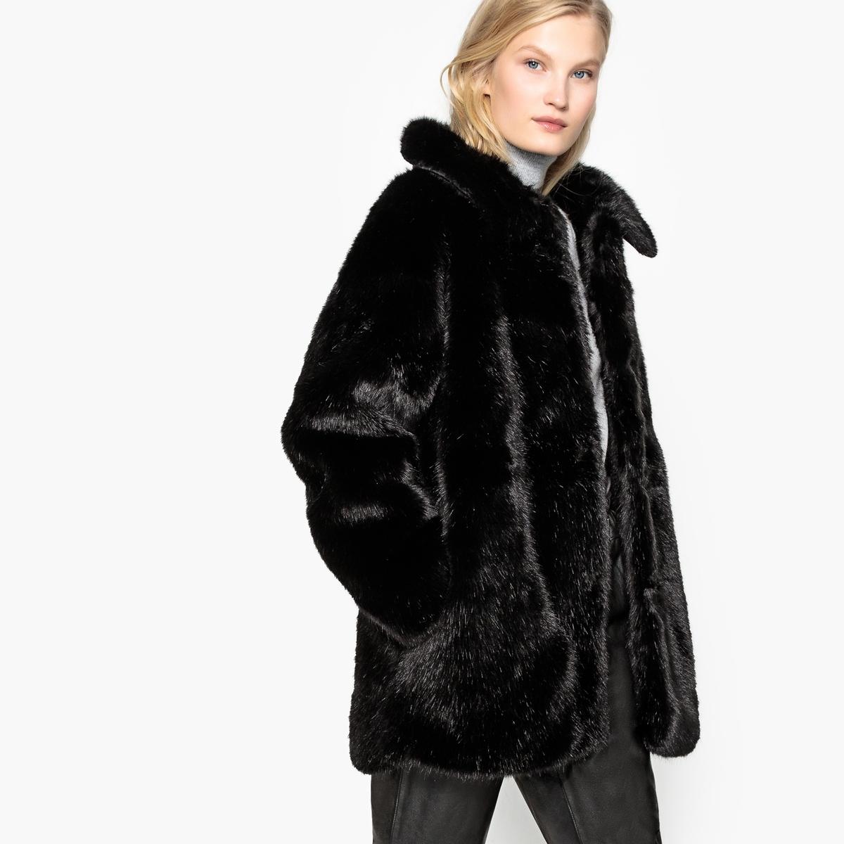 Укороченное пальто с искусственным мехом