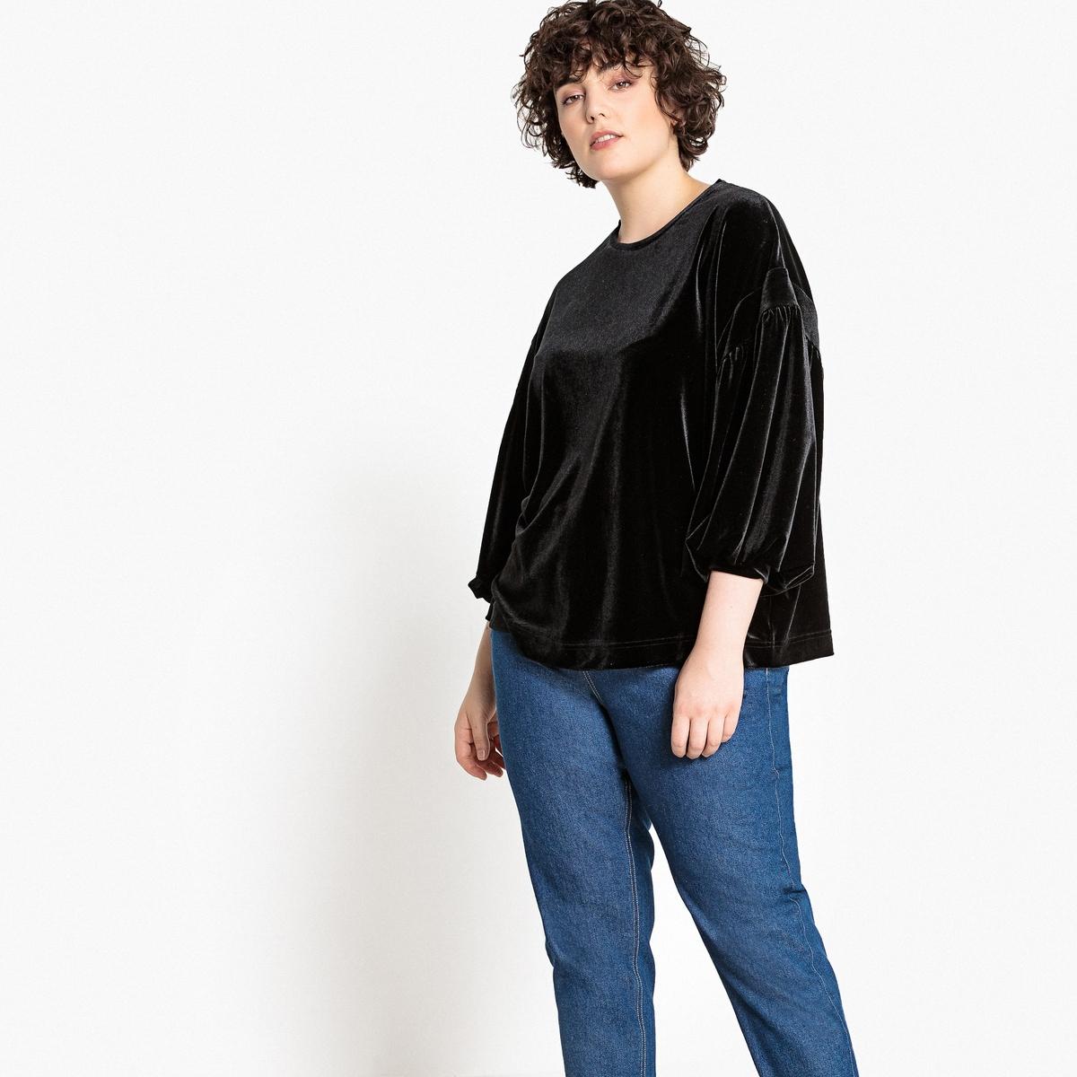 Блузка из велюра с круглым вырезом  длинными рукавами