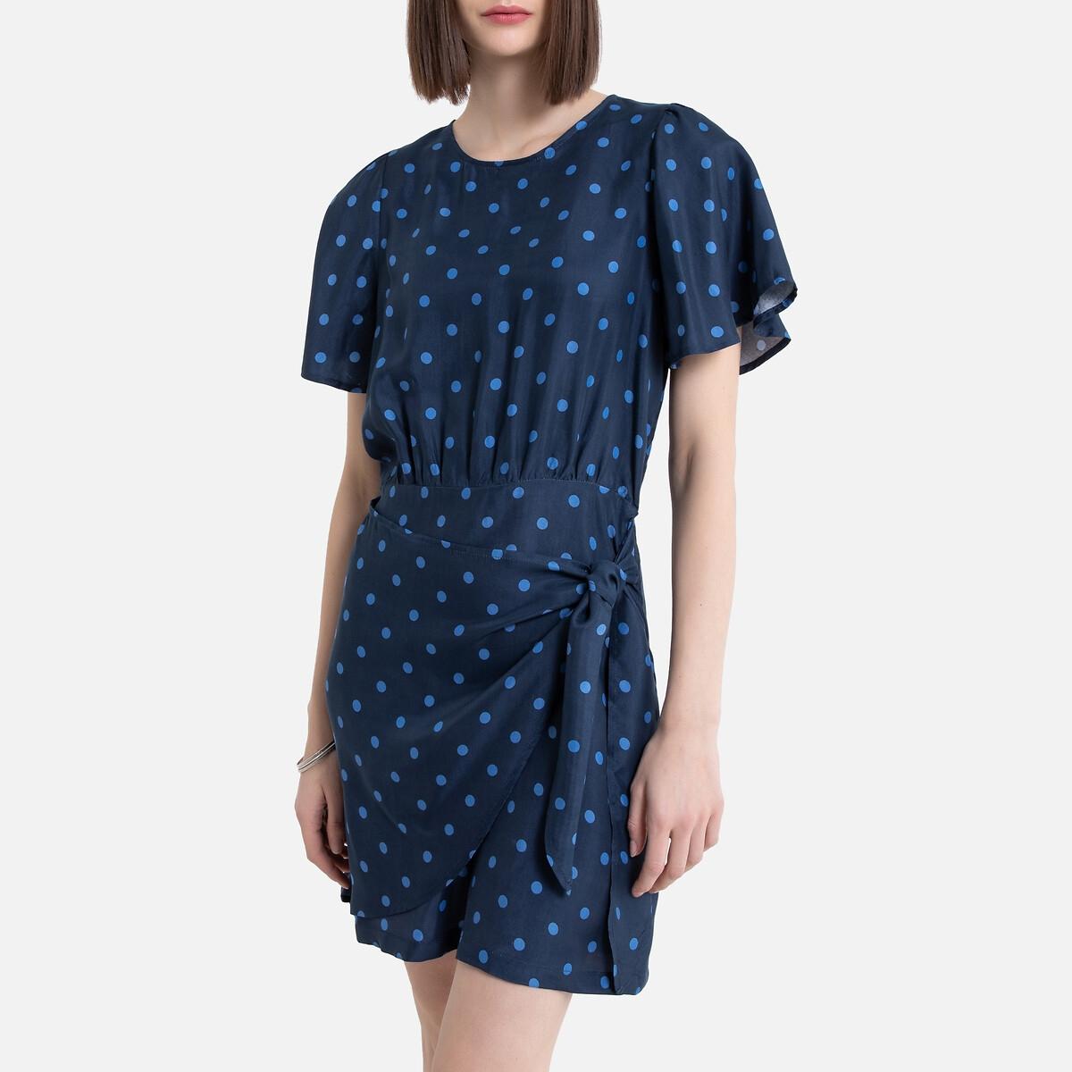 Платье La Redoute С короткими рукавами-бабочками и рисунком в горошек 40 (FR) - 46 (RUS) синий цена и фото