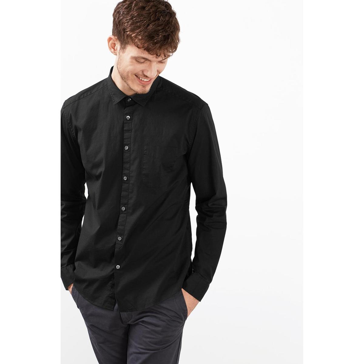 Рубашка с длинными рукавамиРубашка с длинными рукавами - ESPRIT.  Прямой покрой, классический воротник. Нагрудный карман. Застёжка на пуговицы, манжеты с застёжкой на пуговицы. Состав и описаниеМатериал: 97% хлопка, 3% эластана. Марка: ESPRIT.<br><br>Цвет: темно-синий,черный