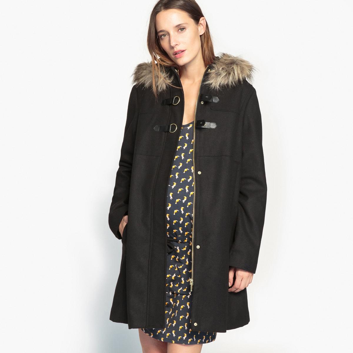 Пальто для периода беременностиОписание:Вам будет тепло в ожидании малыша в этом пальто в стиле дафлкот . Симпатичная объемная форма и капюшон с искусственным мехом .Детали •  Длина : средняя •  Капюшон •  Застежка на молнию •  С капюшономСостав и уход •  2% вискозы, 13% шерсти, 5% акрила, 2% полиамида • Не стирать •  Деликатная чистка/без отбеливателей •  Не использовать барабанную сушку   •  Низкая температура глажкиМодель адаптирована для периода беременности  •  Длина : 90 см<br><br>Цвет: черный<br>Размер: 42 (FR) - 48 (RUS).38 (FR) - 44 (RUS)