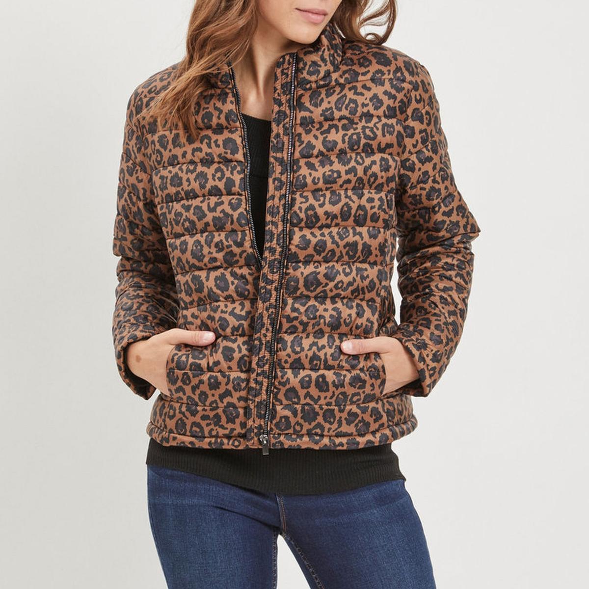 Куртка стеганая короткая с леопардовым принтом куртка стеганая короткая с леопардовым принтом