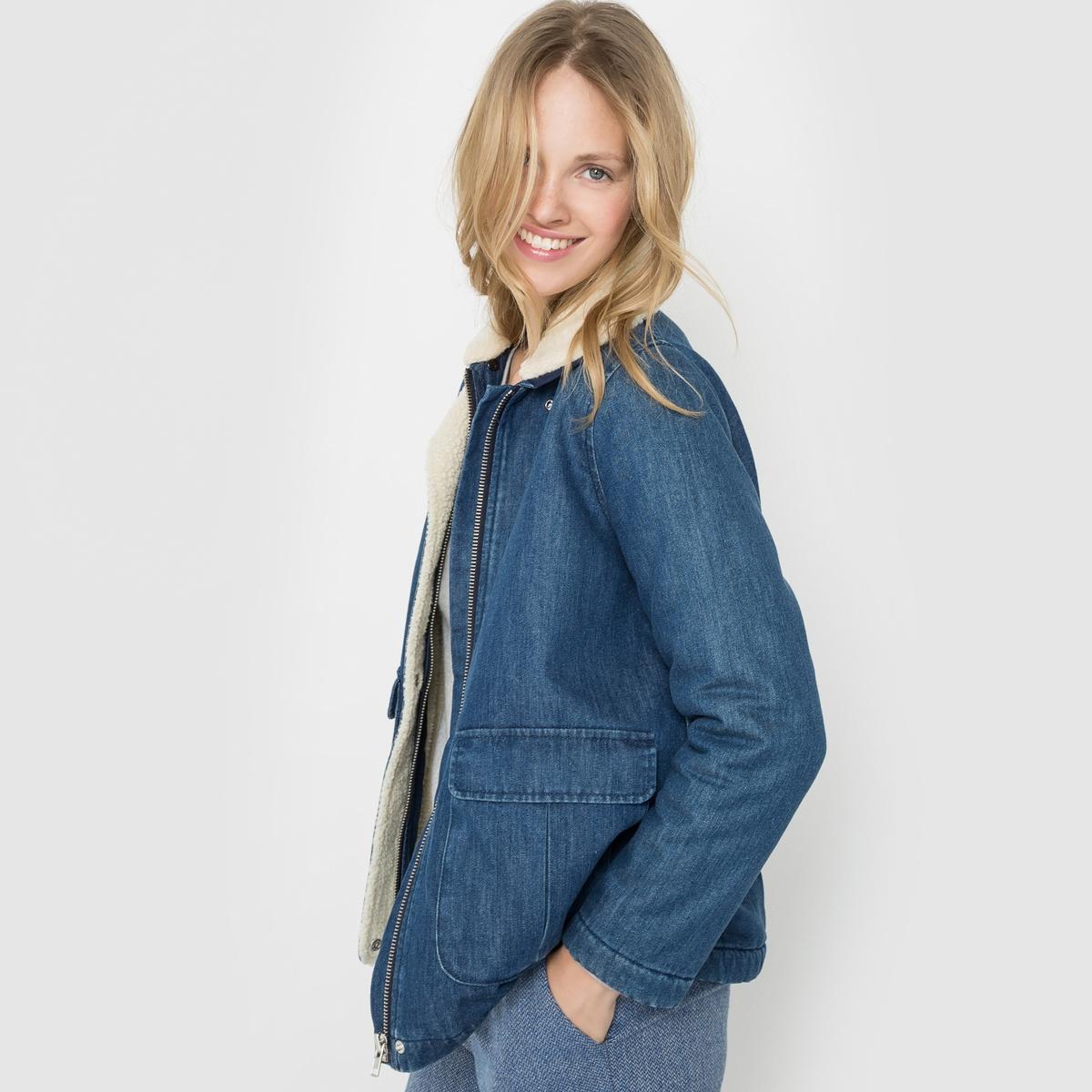 Блузон джинсовый с воротником из шерпы