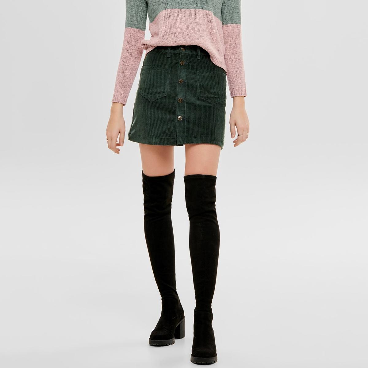 Юбка La Redoute Короткая с застежкой на пуговицы из велюра XL зеленый пиджак с застежкой на пуговицы sartorio