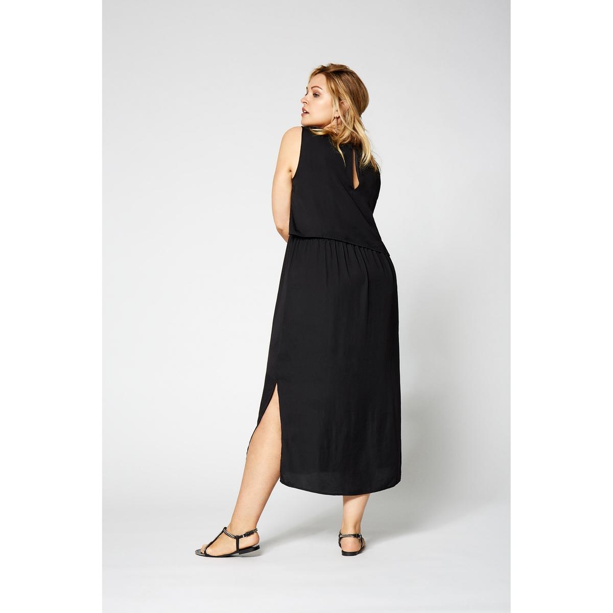 ПлатьеДлинное платье без рукавов ZIZZI. Застёжка на пуговицы сзади. Эластичный пояс с завязками, который изящно подчеркнёт Ваш силуэт. Материал: 100% полиэстера.<br><br>Цвет: черный<br>Размер: 42/44 (FR) - 48/50 (RUS)
