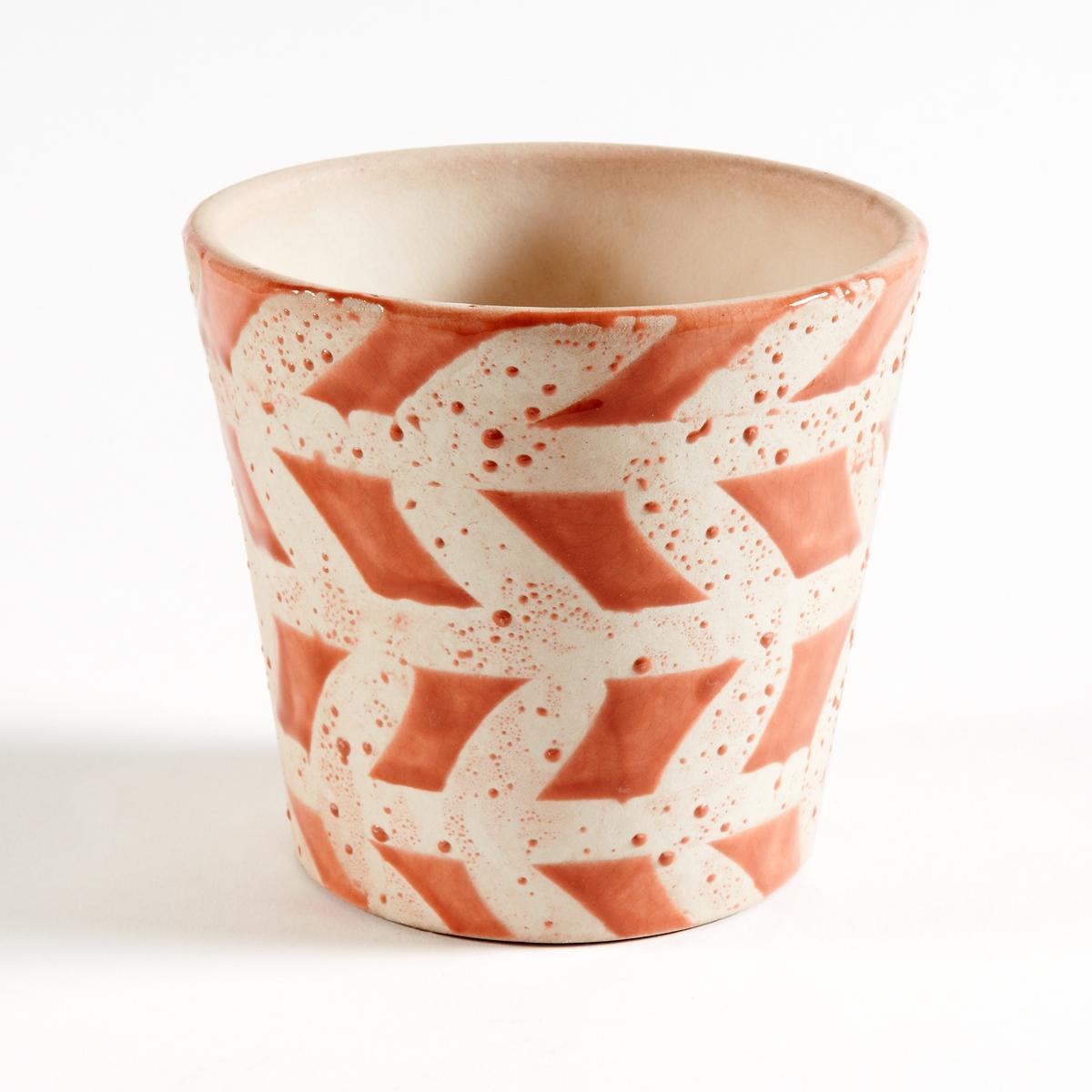Кашпо из керамики, покрытой глазурью, EtnimaХарактеристики круглого кашпо из керамики Etnima :Круглое кашпо из керамики, покрытой глазурью, с этническим рисунком.Размеры круглого кашпо из керамики Etnima :Размеры : диаметр 14 x высота 12,5 см.<br><br>Цвет: оранжевый,темно-розовый