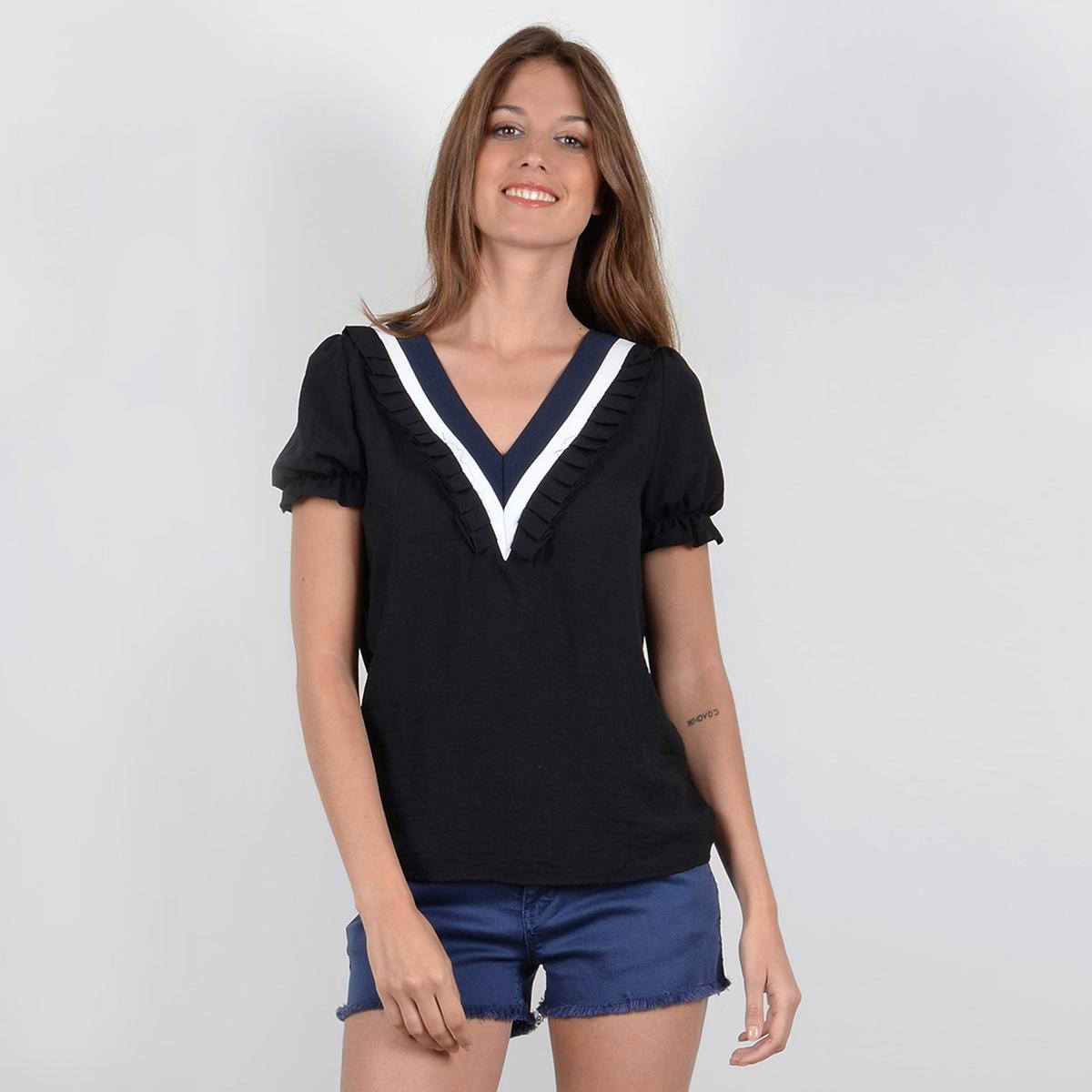 Блузка однотонная с V-образным вырезом и короткими рукавами семь волков мужской чистого цвета хлопка с короткими рукавами футболки v образным вырезом донизу рубашки летние спортивные 98714 белый xxl